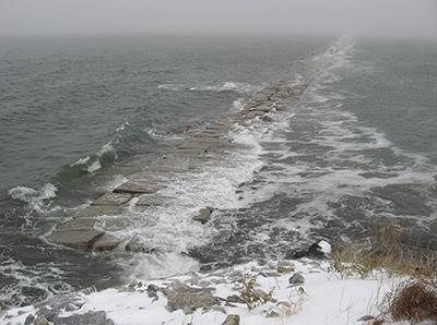 Storm tide at breakwater