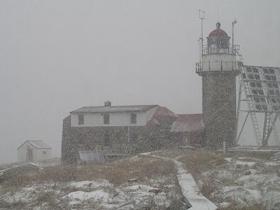 Snowing at Matinicus Rock